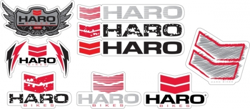 Black /& Silver. Haro Stickers Set Red